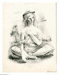 Prints:American, FLETCHER MARTIN (American 1904 - 1979). Seated Girl. Lithograph. 18x 14in....
