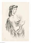 Bronze:American, FLETCHER MARTIN (American 1904 - 1979). Seated Nude. Lithograph. 17x 12in.. Numbered to lower left: 62/80...