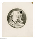 Prints:American, FLETCHER MARTIN (American 1904 - 1979). Woman with Head Scarf.Lithograph. 6.25in. diameter. Signed lower right...