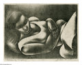 Prints:American, FLETCHER MARTIN (American 1904 - 1979). Sleeping Negress, 1934.Lithograph. 10.75 x 14. Signed, dated and titled in lower ma...