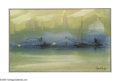 Paintings, Leon Louie Dolice (American 1892-1960). Misty City. Serigraph. 6 x 9.5in.. Signed lower right...