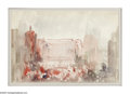 Fine Art - Painting, American:Modern  (1900 1949)  , DONALD SHAW-MACLAUGHLIN (American 1876-1938). City Scene.Watercolor on paper. 9 x 13.5in.. Estate stamp lower right...