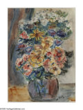 Fine Art - Painting, American:Contemporary   (1950 to present)  , NATHANIEL DIRK (American 1895 - 1961). Floral Still Life.Watercolor on paper. 14.25 x 10.25in.. Signed lower right...