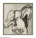 Fine Art - Painting, American:Modern  (1900 1949)  , PROBST (American 1913 - ). Abstract Figures, 1946. Ink wash onpaper. 9 x 8in.. Signed lower left...