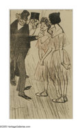 Prints:American, AMERICAN ILLUSTRATION. Gentlemen & Ballerinas. Illustrationreproduction. 11 x 6.25in.. Indecipherable signature to lower le...