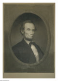 Prints, AMERICAN SCHOOL. Abe Lincoln. Lithograph. 20 x 36in.. Signed lower right...