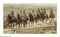 American:Western, DON STIVERS (American b.1926). Rebs, 1987. Oil on masonite. 5.75 x9.75in.. Signed and dated lower left. ...