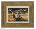 American:Western, DON STIVERS (American b.1926). Unlimbering the Guns. Gouache onpaperboard. 6.25 x 9in.. ...