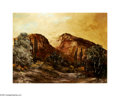 Texas:Early Texas Art - Impressionists, ALICA RAY (American). Red Mountains. Oil on board. 18 x 24in..Signed lower left...