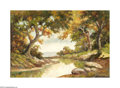 Texas:Early Texas Art - Impressionists, WILL A. KENDRICK. Hill Country River, c.before 1920. Oil on canvas.20 x 30in.. Signed lower left...