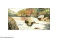 Texas:Early Texas Art - Impressionists, E.E. FINIGAN (American 1889-1969). Hill Country River (around SanAntonio), c.before 1920s. Watercolor on paper. 5.25 x 10in...