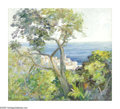 Fine Art - Painting, American:Modern  (1900 1949)  , HELEN MAE ENOCH GLEIFORST (American 1903 - 1997). CaliforniaLandscape To The Ocean, Mid Twentieth Century. Oil on board. 18...