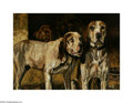 Texas:Early Texas Art - Impressionists, LOU ELLEN CHATTIN (American 1891-1937). Bloodhounds, 1914. Oil oncanvas. 26 x 36in.. Signed bottom right...