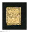 "Colonial Notes:Continental Congress Issues, Continental Currency February 17, 1776 $2/3 Very Good-Fine. This""Fugio"" note has a sundial and linked chains on the back...."