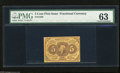 Fractional Currency:First Issue, Fr. 1230 5c First Issue PMG Choice Uncirculated 63. A fresh and bright yellow note with a tight right margin accounting for ...