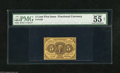 Fractional Currency:First Issue, Fr. 1230 5c First Issue PMG About Uncirculated 55 Net. An attractive note that appears uncirculated but with the PMG comment...