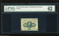 Fractional Currency:First Issue, Fr. 1242 10c First Issue PMG Uncirculated 62. Two tight margins are found on this well printed piece of fractional which PMG...