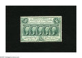 Fractional Currency:First Issue, Fr. 1310 50c First Issue New. No folds are found on this scarce note, but an approximate quarter inch tear extends up from t...