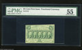 Fractional Currency:First Issue, Fr. 1312 50c First Issue PMG Choice About Uncirculated 55. A broad diagonal corner fold appears to keep this note from the C...