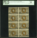 Fractional Currency:Second Issue, Fr. 1317 50¢ Second Issue Uncut Block of Eight Notes PCGS About New 50.. ...