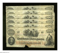 Confederate Notes:1862 Issues, T41 $100 1862 Five Consecutive Examples. This quintet has the foldsof an Extremely Fine note, but each note has a chewe... (Total: 5notes)