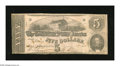 Confederate Notes:1862 Issues, T53 $5 1862. The bottom edge reveals tiny abrasions. VeryGood-Fine, CC....