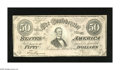 Confederate Notes:1864 Issues, T66 $50 1864. A corner fold is found on this $50. Choice About Uncirculated....