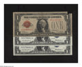Small Size:Legal Tender Notes, Fr. 1500 $1 1928 Legal Tender Note. VG. Fr. 1619 $1 Silver Certificates. Two Consecutive Examples. AU.. The upper right-... (Total: 3 notes)