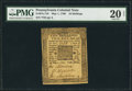 Colonial Notes:Pennsylvania, Pennsylvania May 1, 1760 10s PMG Very Fine 20 Net.. ...