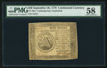 Colonial Notes:Continental Congress Issues, Continental Currency Contemporary Counterfeit September 26, 1778$50 PMG Choice About Unc 58.. ...