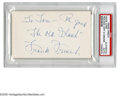 Autographs:Index Cards, Frank Frisch Signed Index Card. An impressive blue ink signature from the New York Giant and St. Louis Cardinal Hall of Fame...