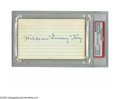 "Autographs:Index Cards, William ""Dummy"" Hoy Signed Index Card. The man whose deafness gave rise to umpires' hand signals rather than simply verbal c..."