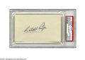 "Autographs:Index Cards, Satchel Paige Signed Index Card. A perfect black ink autographfinds a home on the blank side of a 3x5"" index card. A fine..."