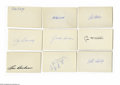 Autographs:Index Cards, Hall of Famers Signed Index Cards Lot of 60. Vast collection of Cooperstown ink breaks down as follows: Averill, Appling (2...