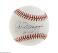 "Autographs:Baseballs, Joe DiMaggio ""HOF 55"" Single Signed Baseball, PSA NM-MT+ 8.5. Highly desirable inscription of ""HOF 55"" makes this Joltin' J..."