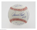 "Autographs:Baseballs, Johnny Bench Single Signed ""Stat"" Baseball. The Hall of Famecatcher offers a sweet spot signature and endless stats penned..."