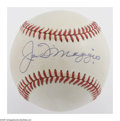 Autographs:Baseballs, Joe DiMaggio Single Signed Baseball. OAL (Brown) baseball that islightly toned and offers 10/10 sweet spot blue ink signatu...