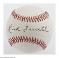 Autographs:Baseballs, Rick Ferrell Single Signed Baseball. OAL (Brown) baseball offers10/10 black ink sweet spot signature from the Hall of Fame ...