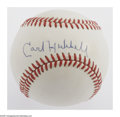 Autographs:Baseballs, Carl Hubbell Single Signed Baseball. ONL (Giamatti) baseball offers10/10 sweet spot blue ink signature from the New York Gi...