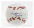 "Autographs:Baseballs, Reggie Jackson Single Signed ""Stat"" Baseball. The Hall of Fameslugger offers a sweet spot signature and stats penned in Re..."