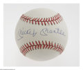 Autographs:Baseballs, Mickey Mantle Single Signed Baseball. High-grade sphere pairs aperfect blue ink sweet spot signature with a pearly white h...
