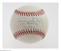 "Autographs:Baseballs, Warren Spahn ""Winningest Lefty"" Single Signed Baseball. Exceedinglyrare single is numbered 170/363 and reads ""Warren Spahn..."