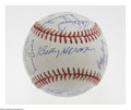 Autographs:Baseballs, Hall of Famers Multi-Signed Baseball. More legends than you could shake a Louisville Slugger at. OAL (Brown) ball offers e...