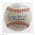 Autographs:Baseballs, 1951 Cincinnati Reds Team Signed Baseball. Luke Sewell and TedKluszewski (clubhouse) fill the sweet spot of this ONL (Fric...