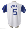 Autographs:Jerseys, George Brett Signed Jersey. The Hall of Fame batsman offers aperfect silver sharpie signature on the rear numeral of this ...