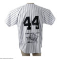 Autographs:Jerseys, Reggie Jackson Signed Embroidered Jersey. Mr. October's pinstripedgamer is remembered with this fine replica, offering a p...