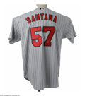Autographs:Jerseys, Johan Santana Signed Jersey. Game-issued example of the superstarpitcher's grey roadster is signed on verso in flawless si...