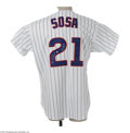 Autographs:Jerseys, Sammy Sosa Signed Jersey. Perfect replica of the home pinstriped Chicago Cubs gamer worn by this long ball artist is signed...