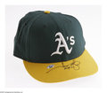 Baseball Collectibles:Hats, 2000 Jason Giambi Game Worn Cap. The American League MVP put light but definite use into this Oakland A's cap during that t...