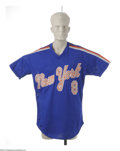 Baseball Collectibles:Uniforms, 1987 Gary Carter Batting Practice Worn Jersey. A Hall of Famerjersey from the era of the last New York Mets World Champion...
